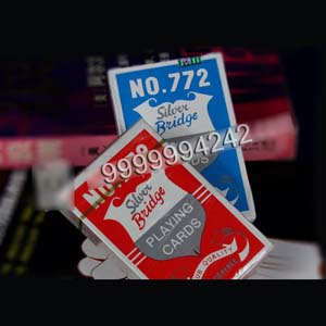 Custom Casino Gambling Props Silver Plastic Bridge Playing Cards